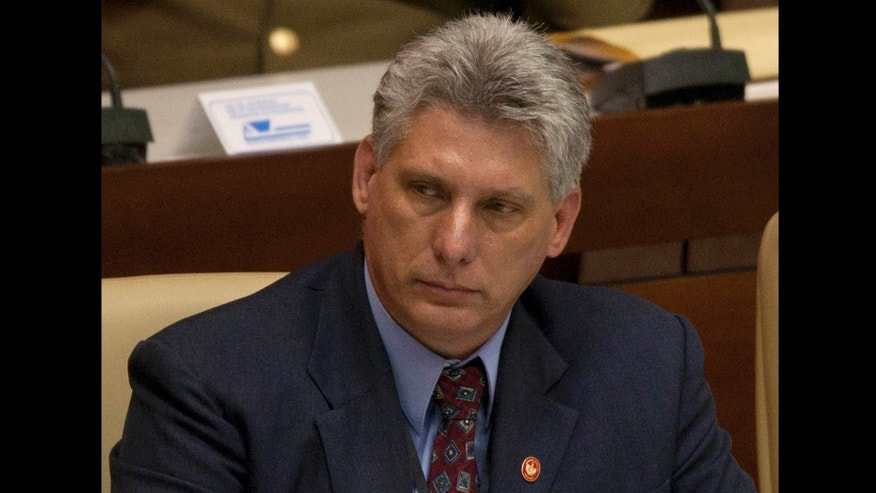 Newly appointed Cuba's Vice President Miguel Diaz-Canel participates in the closure session of the National Assembly in Havana, Cuba, Sunday, Feb. 24, 2012.