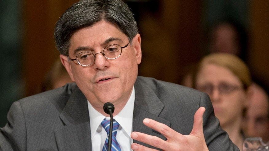 FILE: Feb. 13, 2013: Jack Lew testifies during his confirmation hearing on Capitol Hill in Washington, D.C., before the Senate Finance Committee.