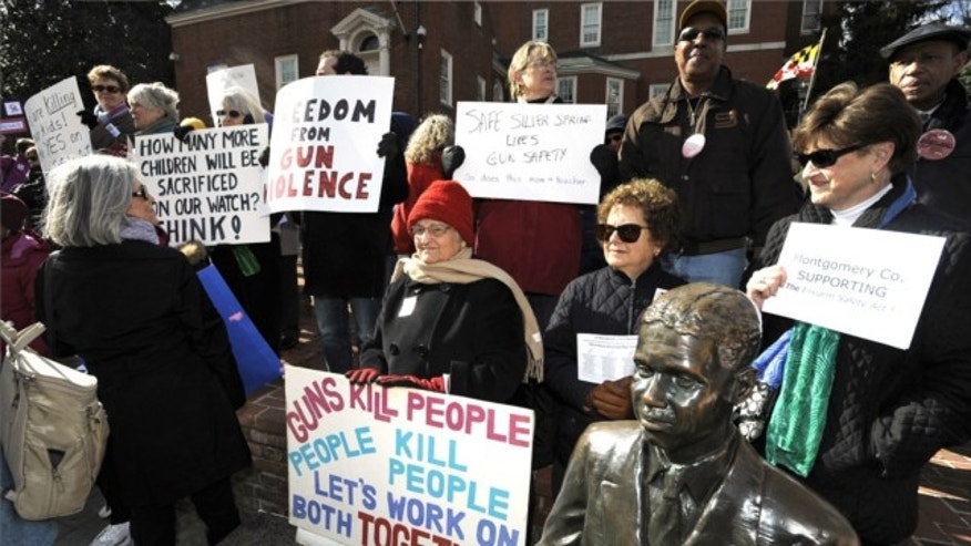 March 1, 2013: Supporters of the Firearms Safety Act wave their signs protesting against gun violence at the Prevent Gun Violence Rally on Lawyer's Mall in front of the State House in Annapolis.