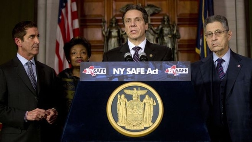 Jan. 15, 2013: New York Gov. Andrew Cuomo speaks after signing New York's Secure Ammunition and Firearms Enforcement Act into law in Albany, N.Y.