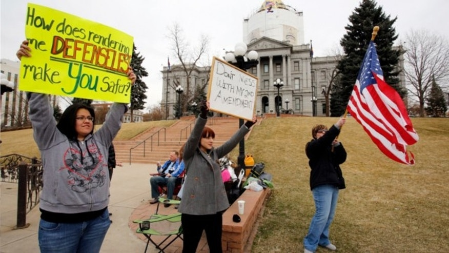 March 8, 2013: Protesters gather in front of the Capitol in Denver where State Senators are debating seven control bills.