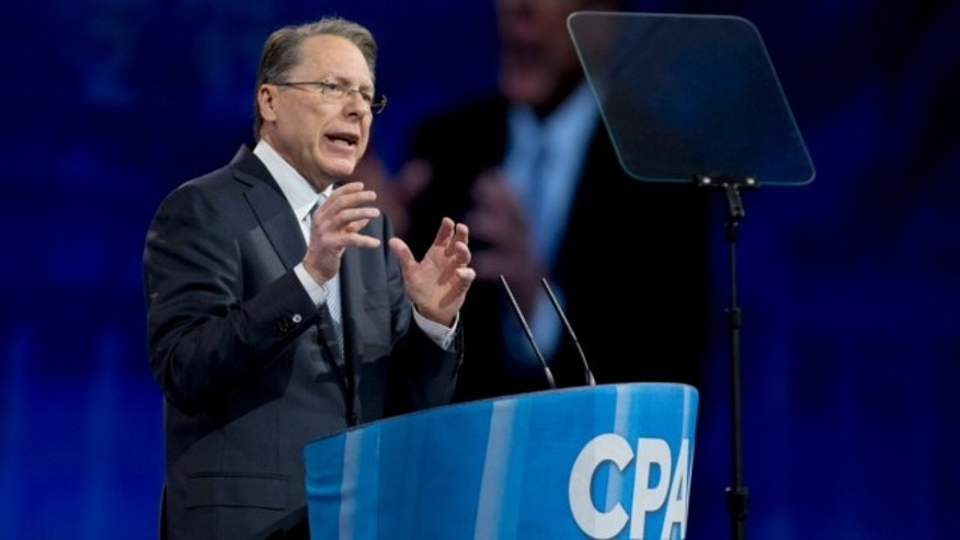 March 15, 2013: National Rifle Association CEO Wayne LaPierre gestures as he speaks at the 40th annual Conservative Political Action Conference in National Harbor, Md.