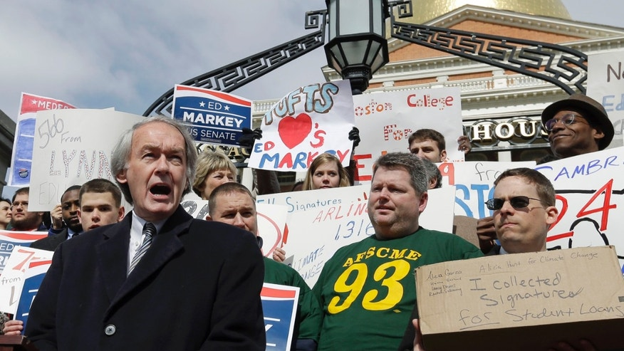 FILE: March 4, 2013: Democratic U.S. Senate hopeful and Rep. Edward Markey speaks to supporters outside the Statehouse in Boston, Mass.