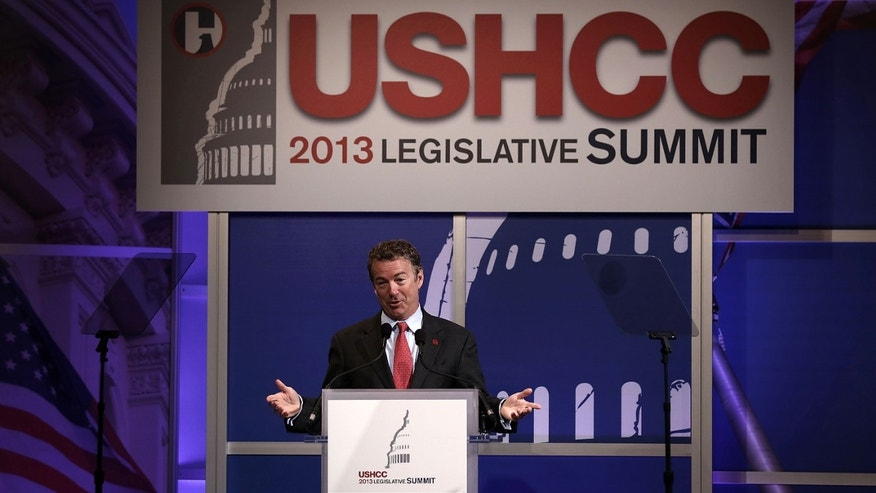 WASHINGTON, DC - MARCH 19:  U.S. Senator Rand Paul (R-KY) addresses a breakfast meeting of the 2013 Annual Legislative Summit of U.S. Hispanic Chamber of Commerce (USHCC) March 19, 2013 at Capitol Hilton Hotel in Washington, DC. Paul spoke on immigration and he announced his endorsement for a pathway for the 11 million illegal immigrants in the United States to become citizens.  (Photo by Alex Wong/Getty Images)
