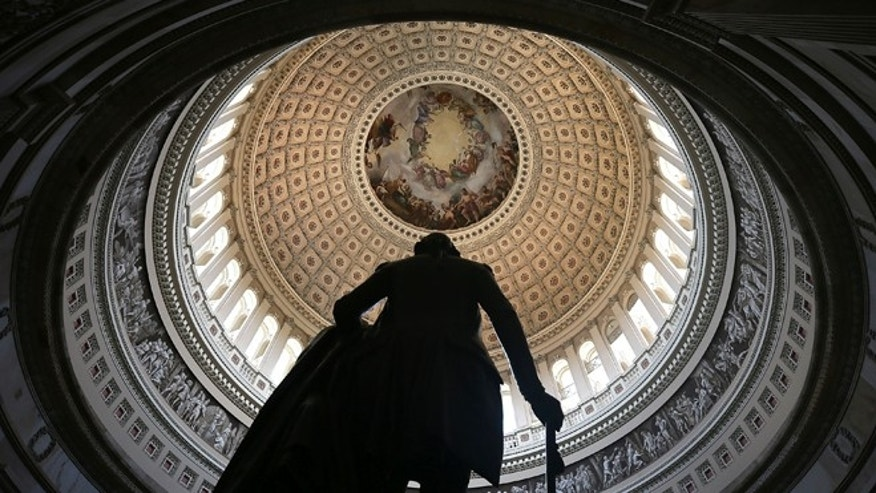 WASHINGTON, DC - AUGUST 28:  A statue of George Washington stands in the Rotunda of the U.S. Capitol August 28, 2012 on Capitol Hill in Washington, DC. It has been reported that the dome of the Capitol has 1,300 known cracks and breaks leaking water to the interior of the Rotunda and needs restorations. The Senate Appropriations Committee has approved $61 million before the August recess to repair the structure. On Monday, Committee on Rules and Administration chairman Sen. Charles Schumer (D-NY) called on Speaker of the House Rep. John Boehner (R-OH) to support the repairs.  (Photo by Alex Wong/Getty Images)