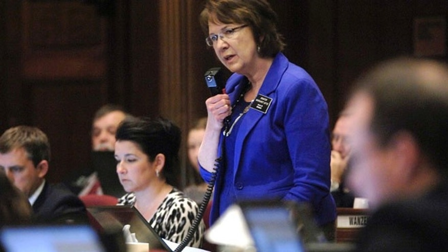March 15, 2013: North Dakota state Sen. Margaret Sitte, R-Bismarck, speaks in favor of HB1305 during the chamber floor debate at the state Capitol in Bismarck, N.D.