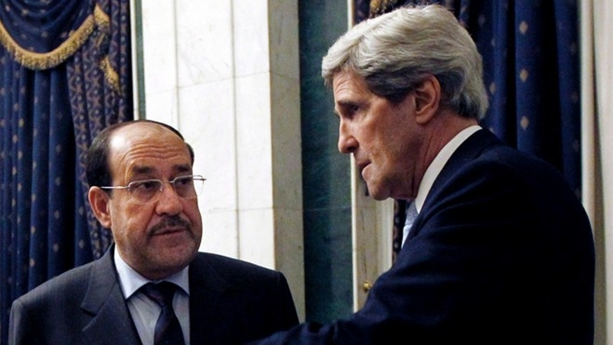 March 24, 2013: U.S. Secretary of State John Kerry meets with Iraq's Prime Minister Nouri al-Maliki in Baghdad, Iraq.