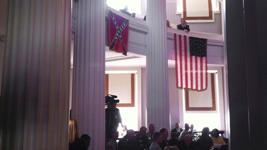 March 28, 2013: A Confederate flag is seen on display at the old Capitol, which houses the governors office and still hosts numerous government events in Raleigh, N.C.