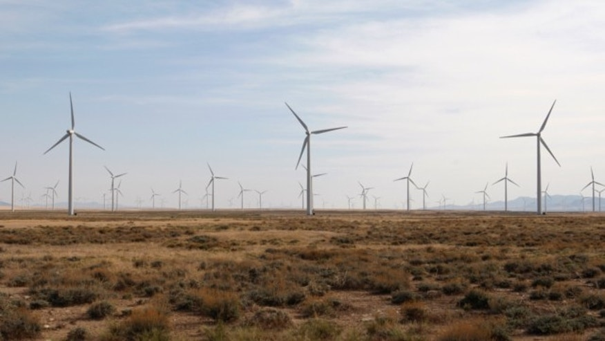 May 21, 2012: Wind turbines operate at a wind farm near Milford, Utah.
