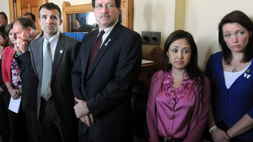 April 1, 2013: Relatives and supporters of Sandy Hook Elementary School shooting victims stand during a presentation at the Capital in Hartford, Conn.