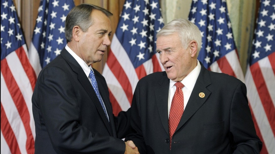 House Speaker John Boehner of Ohio, left, and Rep. John Carter, R-Texas, on Capitol Hill in Washington as the 113th Congress began. A group of Republicans and Democrats in the House is finalizing a sweeping immigration bill.