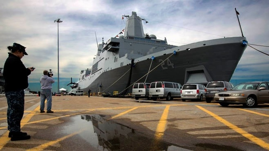 April 5, 2013: In this photo, the USS Arlington sits dock in its new home port at Norfolk Naval Station in Norfolk, Va.
