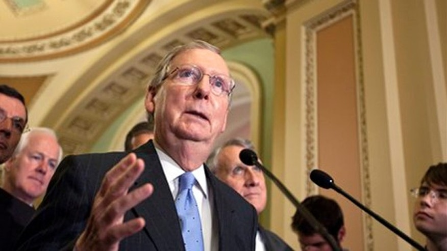 FILE: May 22, 2012: Senate Minority Leader Mitch McConnell, R-Ky.,speaks following a weekly strategy meeting at the Capitol in Washington.