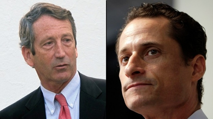 This undated, split image shows former South Carolina Gov. Mark Sanford and former New York Rep. Anthony Weiner.