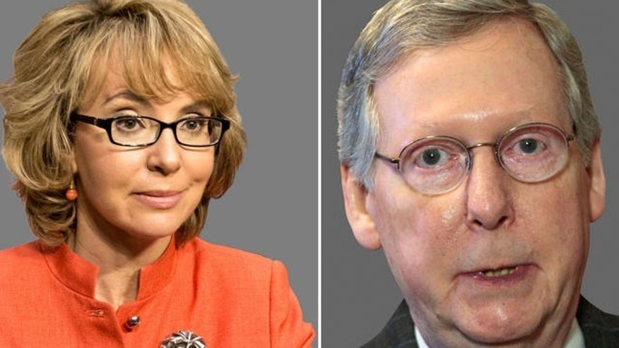 Former Arizona Rep. Gabrielle Giffords (left), Senate Minority Leader Mitch McConnell (right).