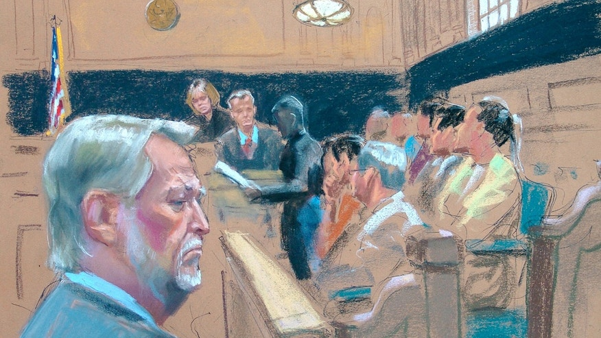 Bernard Ebbers, 63, left, is shown in this courtroom sketch by Jane Rosenberg at federal courthouse in New York Tuesday, March 15, 2005. Judge Barbara Jones is shown presiding behind, and courtroom deputy Mike Gurinach is shown right of Jones. Ebbers was found guilty in orchestrating an $11 billion accounting fraud at WorldCom, the telecommunications giant. (AP Photo/Jane Rosenberg)
