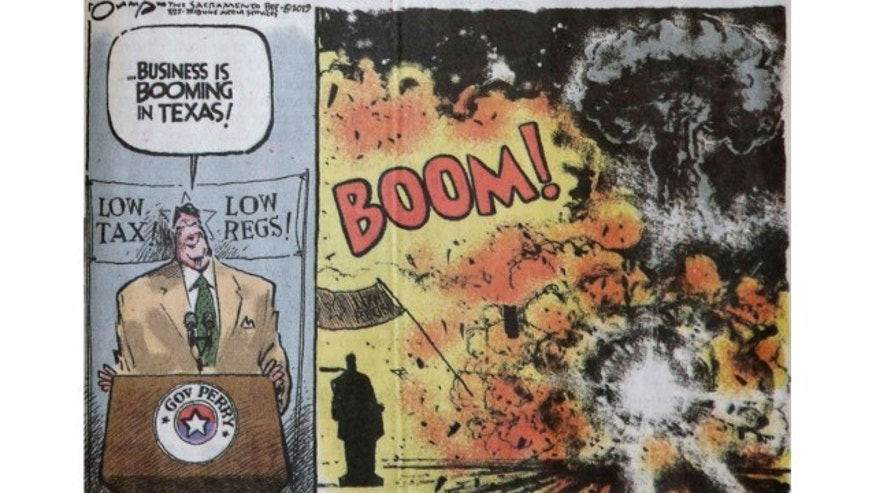 April 26, 2013: This photo shows an editorial cartoon that depicts Texas Gov. Rick Perry boasting about business booming in his state and then shows an explosion, that was featured in Thursday's edition of The Sacramento Bee newspaper, in Sacramento, Calif.