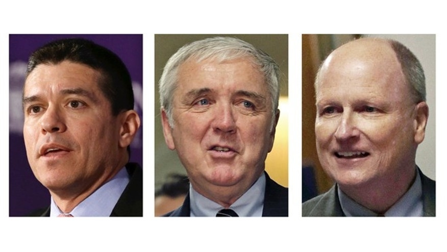 This panel of March 2013 file photos show Republican candidates for U.S. Senate, from left, Gabriel Gomez, Michael Sullivan, and Daniel WInslow, vying for their party's nomination in the special April 30, 2013 primary.