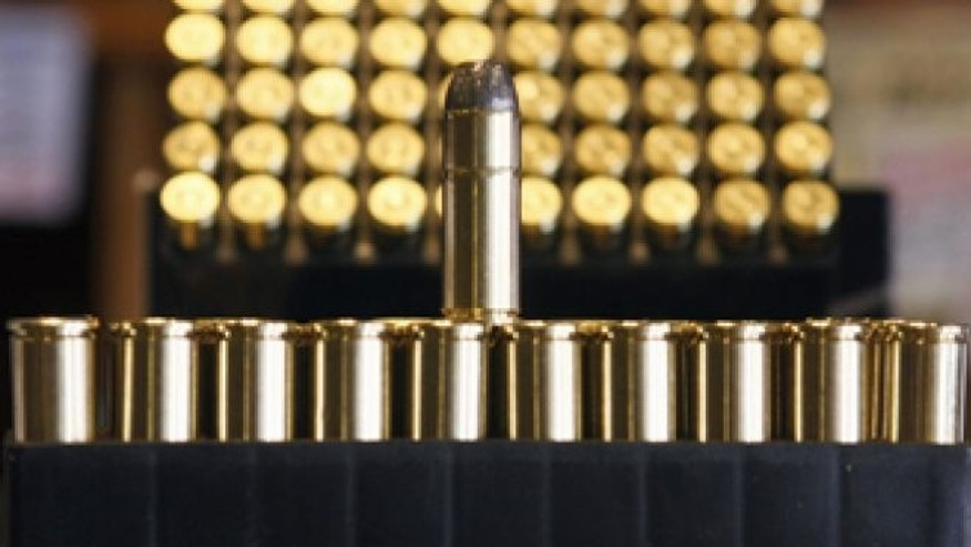 May 14, 2008: Ammunition is seen at Jim Newbauer's gun shop in Tombstone, Ariz.