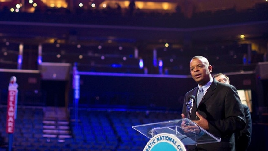 FILE: August 31, 2012: Charlotte Mayor Anthony Foxx speaks during an open house for the public to view the venue for the Democratic National Convention at Time Warner Cable arena in Charlotte, N.C.