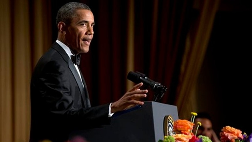 April 27, 2013: President Barack Obama speaks during the White House Correspondents' Association Dinner at the Washington Hilton Hotel in Washington.
