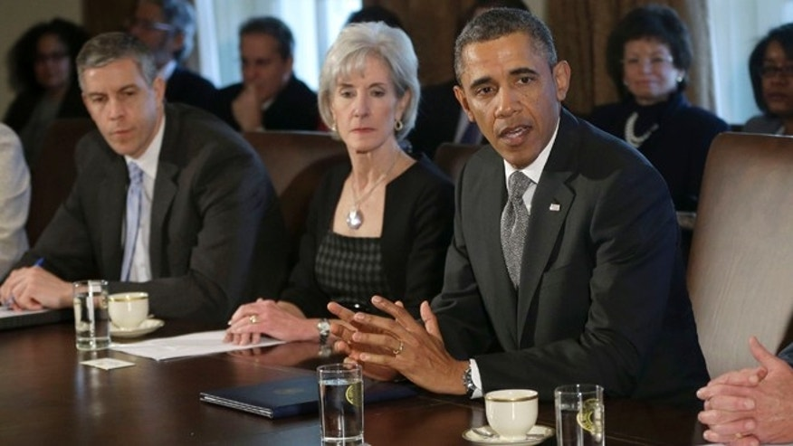 In this March 4, 2013, file photo President Barack Obama speaks to media at the start of a Cabinet meeting, including, from left, Education Secretary Arne Duncan, and Health and Human Services Secretary Kathleen Sebelius, at the White House in Washington. State funding for preschoolers is at a decade low and almost half of those young students are in programs that fail to meet even half of the industry standards, according to report released Monday, April 29, 2013. Those findings, combined with Congressional reluctance to spend new dollars, complicate Obama's efforts to expand pre-kindergarten programs cross the country.