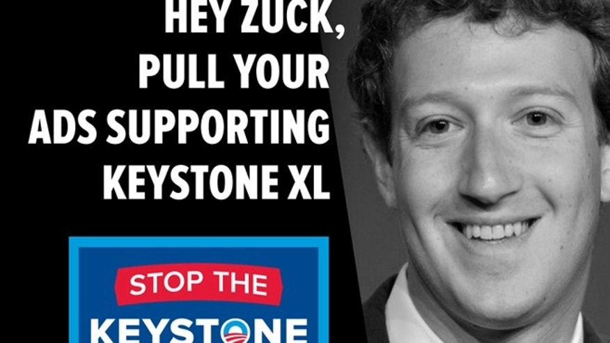 Undated: A Facebook graphic, by the group Credo Action, asking Facebook founder Mark Zuckerberg to stop supporting ads backing the Keystone XL Pipeline.
