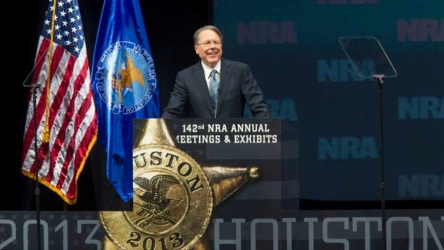 May 4, 2013: Wayne LaPierre, executive vice president of the NRA, speaks during the NRA Annual Meeting of Members at the National Rifle Association's 142 Annual Meetings and Exhibits in the George R. Brown Convention Center in Houston.