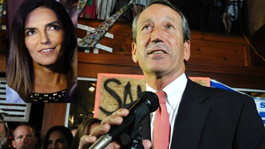 Former South Carolina Gov. Mark Sanford gives his victory speech after wining back his old congressional seat in the state's 1st District on Tuesday, May 7, 2013, in Mt. Pleasant, S.C. His Argentinean mistress, Maria Belen Chapur, to whom he is now engaged, was by his side for the victory. (AP Photo/Rainier Ehrhardt)