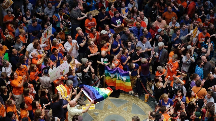 May 13, 2013: People fill the Minnesota State Capitol as they waited for word that the Senate had passed the gay marriage bill.