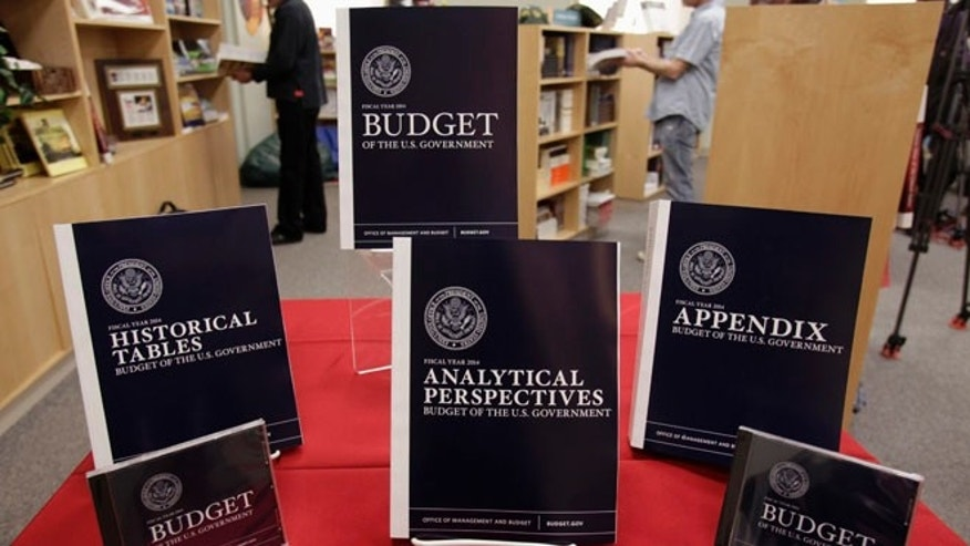 April 10, 2013: Copies of U.S. President Barack Obama's Fiscal Year 2014 Budget is on display at the Government Printing Office in Washington.