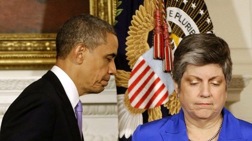 Tuesday, May 21, 2013: President Obama and Homeland Security Secretary Janet Napolitano at the White House, in Washington, after the president talked about the Oklahoma tornado.