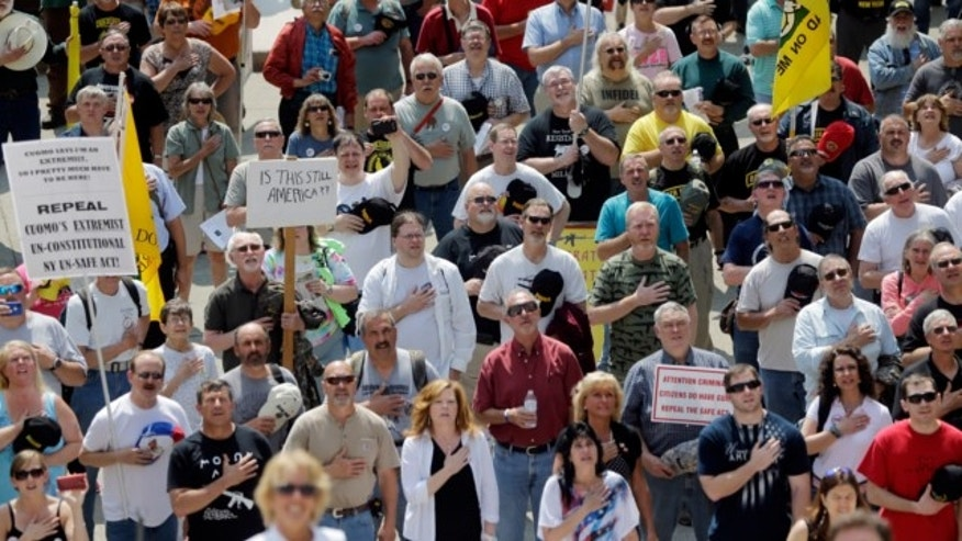 May 21, 2013: People recite the Pledge of Allegiance during a Second Amendment rally at the Capitol in Albany, N.Y.