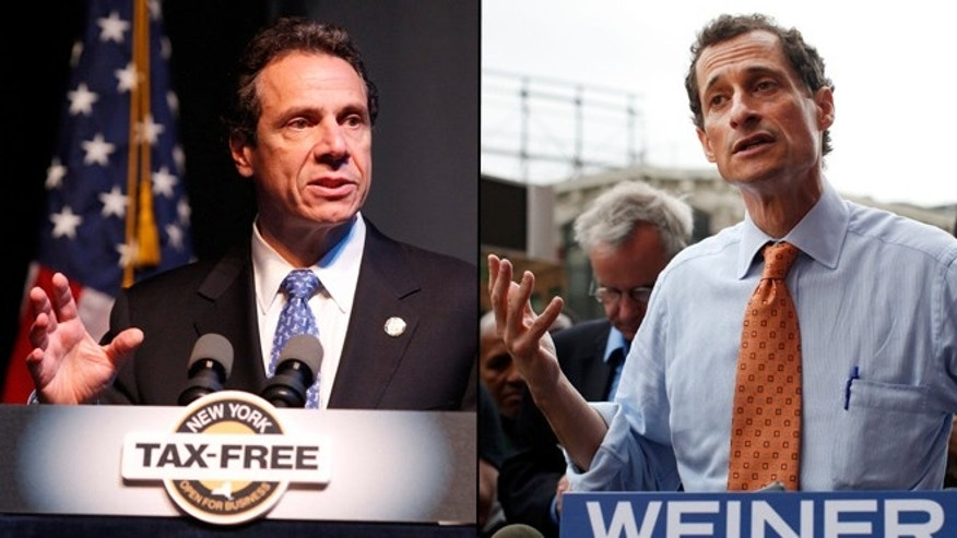 Shown here are New York Gov. Andrew Cuomo, left, and former Rep. Anthony Weiner.