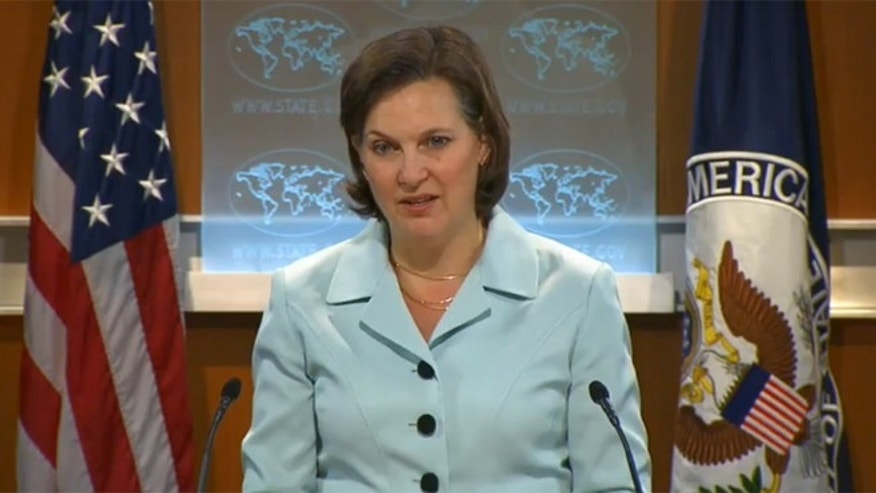 State Department official Victoria Nuland is shown at a March 12, 2013 press briefing in Washington.