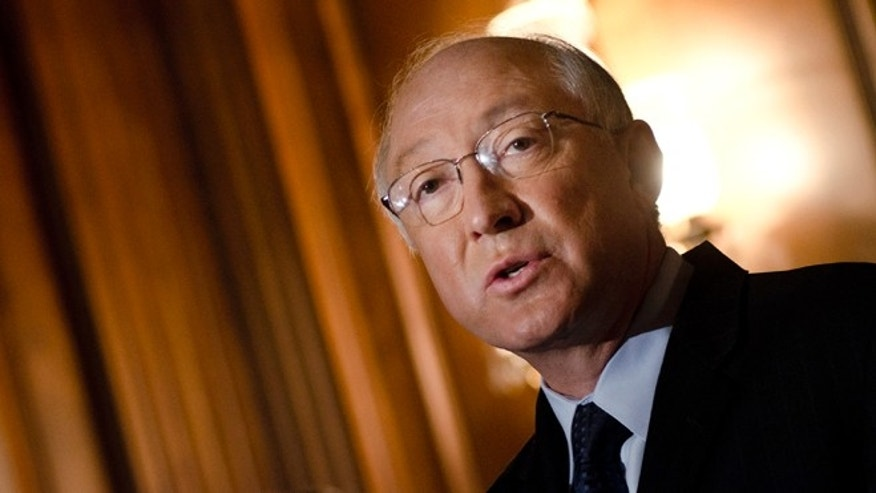 WASHINGTON, DC - MAY 05:  Ken Salazar speaks during the National Museum of the American Latino final report press conference at the U.S. Capital Mansfield Room on May 5, 2011 in Washington, DC.  (Photo by Kris Connor/Getty Images)