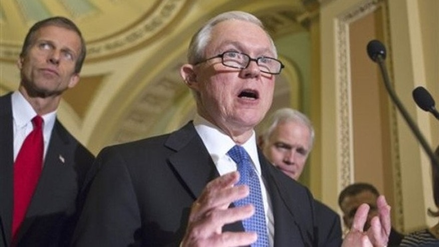 FILE: Sen. Jeff Sessions, R-Ala., at a news conference on Capitol Hill, in Washington, D.C.