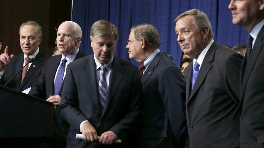 (L-R) U.S. Sen. Jeff Flake (R-AZ), Sen. Marco Rubio (R-FL), Sen. Charles Schumer (D-NY), Sen. John McCain (R-AZ), Sen. Lindsey Graham (R-SC), Sen. Bob Menendez (D-NJ), Sen. Richard Durbin (D-IL), and Sen. Michael Bennet (D-CO), also known as the Gang of Eight, speak to members of the media during a news conference on immigration reform in April.