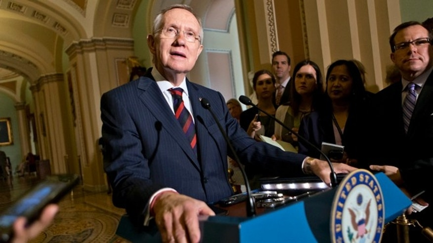 June 25, 2013: Senate Majority Leader Harry Reid updates reporters on the pace of the immigration bill.