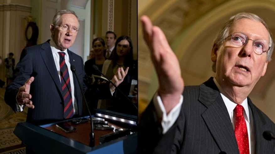 Shown here are Senate Democratic Leader Harry Reid, left, and Senate Republican Leader Mitch McConnell.