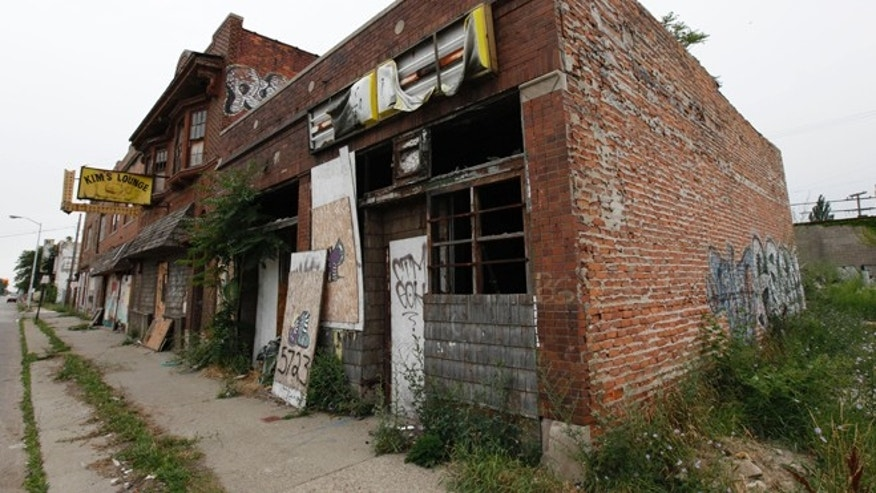 FILE: July 27, 2011 A section of vacant stores in Detroit.