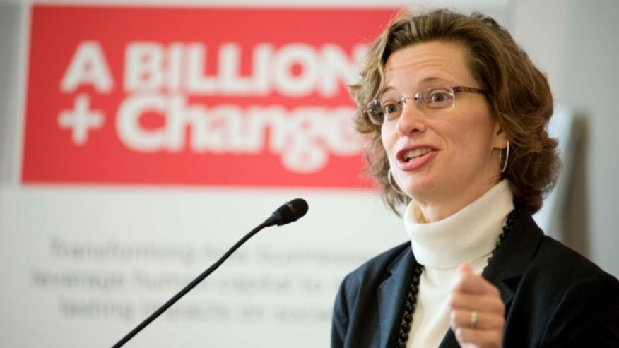 Nov. 3, 2011: In this photo provided by A Billion + Change, Points of Light CEO Michelle Nunn speaks at the launch of A Billion + Change at a ceremony on Capitol Hill in Washington.