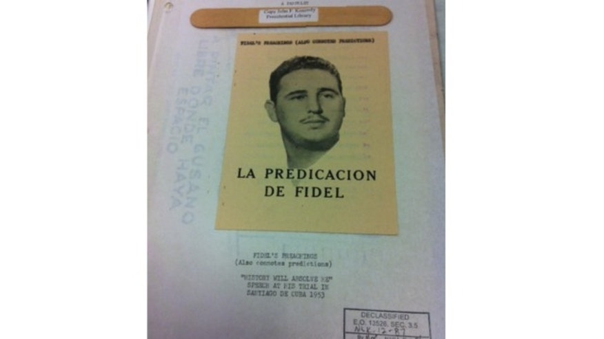 An example of anti-Castro literature developed as part of Operation Mongoose and released as part of the RFK files unsealed by the John F. Kennedy Presidential Library and Museum on July 24, 2013.
