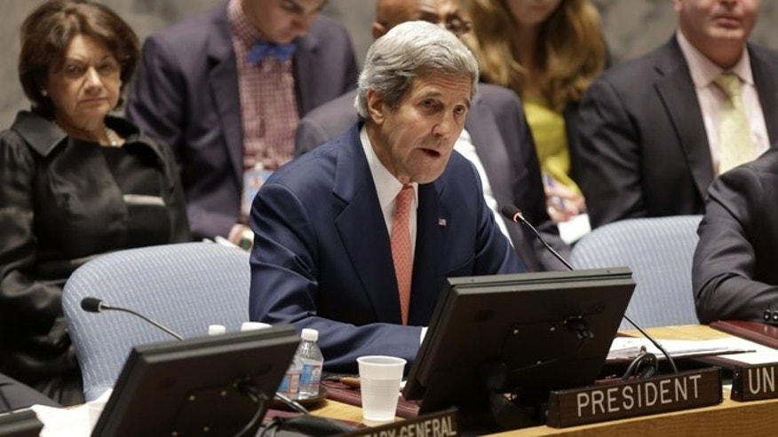 July 25, 2013: United States Secretary of State John Kerry speaks in a security council meeting at United Nations Headquarters in New York.