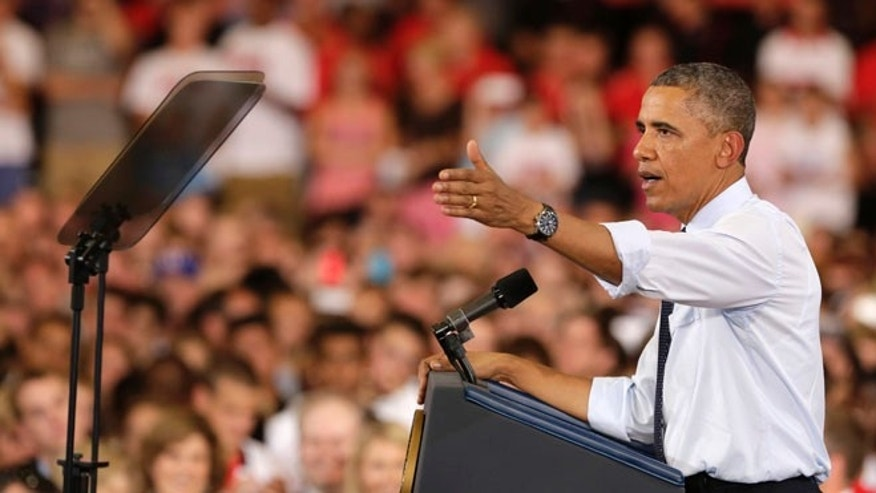 July 24, 2013: President Obama speaks about the economy at the University of Central Missouri in Warrensburg, Mo.