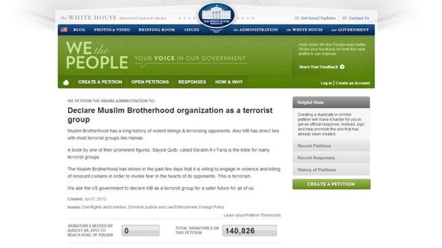 This petition, calling for the Obama Administration to declare the Muslim Brotherhood a terrorist group, was posted on July 7th and quickly garnered over 130,000 signatures.