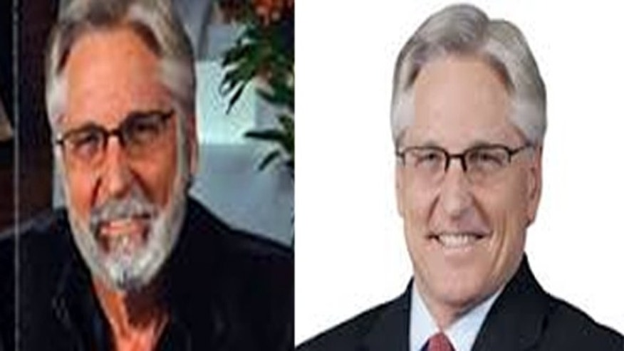 Fred Duval campaign video with darker skin, left, and his campaign photo, right.