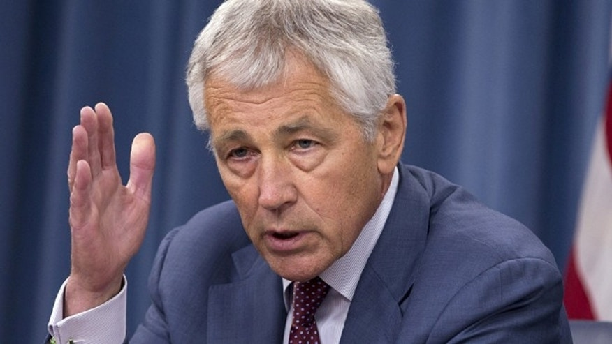 July 31, 2013: In this file photo, Defense Secretary Chuck Hagel speaks during a news conference at the Pentagon.