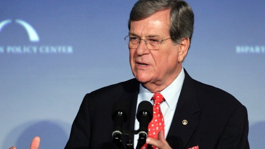 "In this March 21, 2012 file photo, former Sen. Trent Lott, R-Miss., speaks at ""A Century of Service"" honoring former U.S. Senate Majority Leaders  Bob Dole and Howard Baker at Mellon Auditorium in Washington."