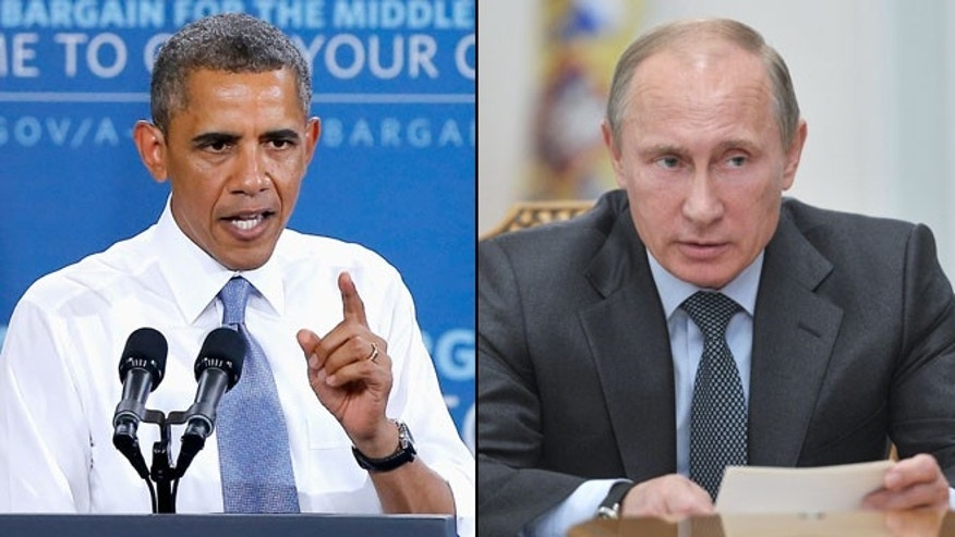 Shown here are President Obama, left, and Russian President Vladimir Putin.